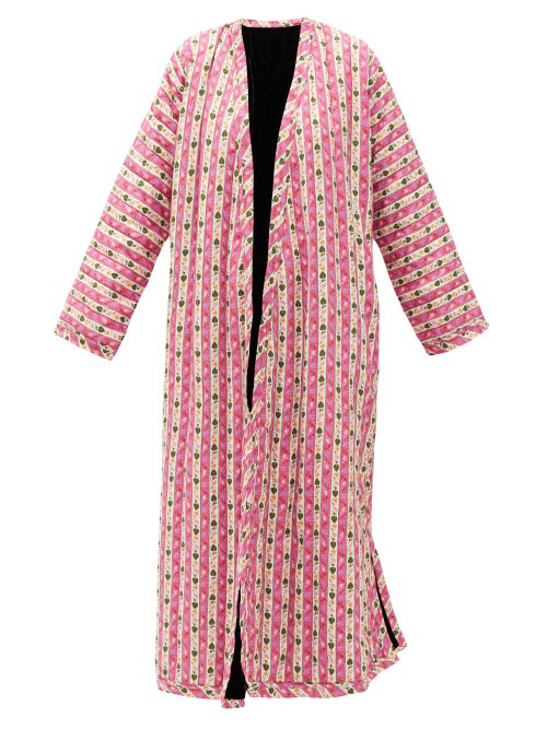 Muzungu Sisters Tatiana Botanical-print Linen Coat In Pink Multi
