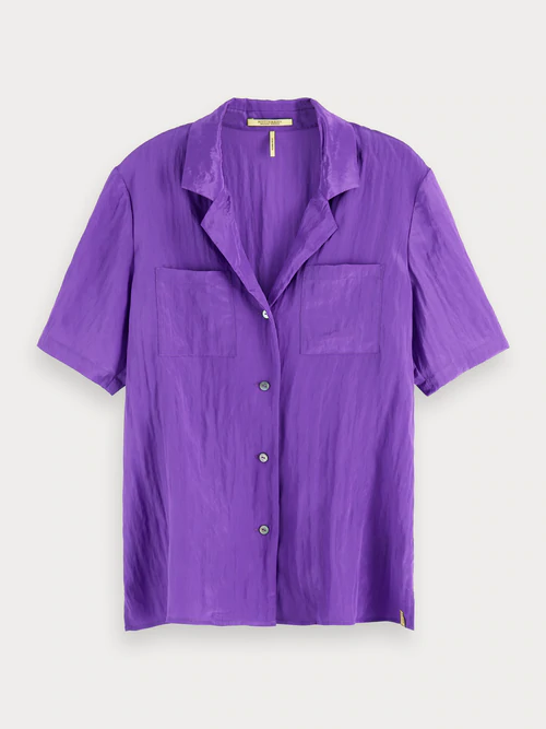 Scotch & Soda Short Sleeved Hawaii Shirt In Purple