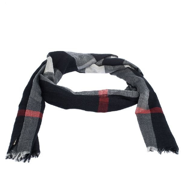 Burberry Navy Blue Checked Wool And Silk Fringed Edge Scarf