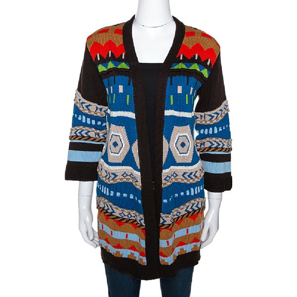 Etro Multicolor Geometric Jacquard Knit Open Front Cardigan S