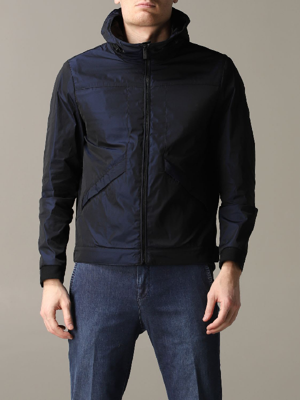 Hogan Nylon Jacket With Hood In Blue