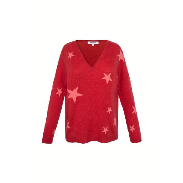 Gerard Darel Enza - V-neck Cashmere Sweater With Star Print In Rose Orange