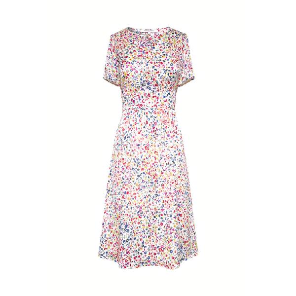 Gerard Darel Salvina - Short Belted Floral Print Dress In Ecru