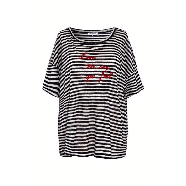 Gerard Darel Joanita - Striped Linen T-shirt With Writing In Marine