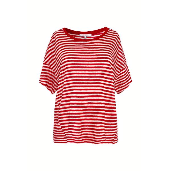 Gerard Darel Josephine - Striped Linen T-shirt In Rouge Baiser