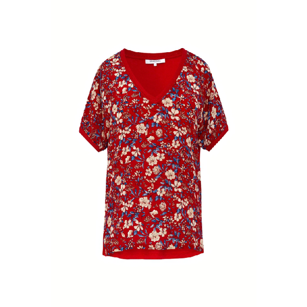 Gerard Darel Jules - Mixed-material T-shirt In Rouge Baiser