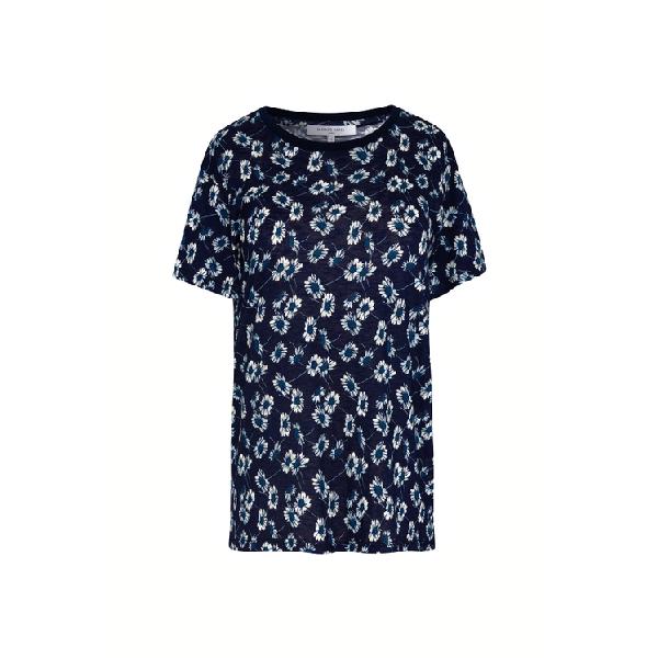 Gerard Darel Jen - Floral Print Jersey T-shirt In Marine