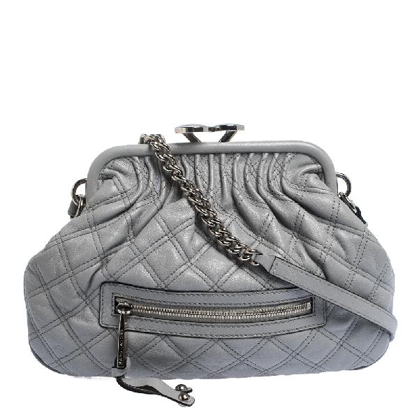 Marc Jacobs Grey Leather Little Stam Shoulder Bag