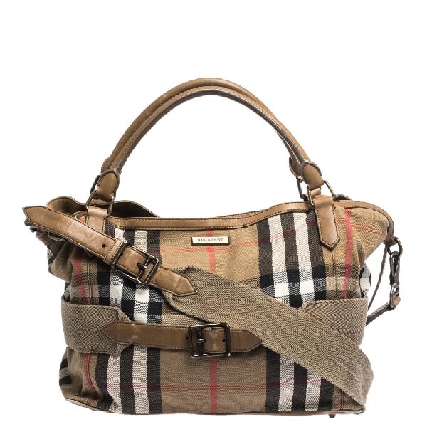 Burberry Beige Houe Check Canvas And Leather Aurelia Diaper Bag