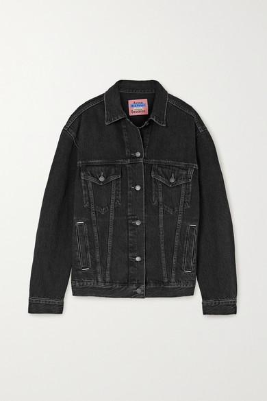 Acne Studios Morris Cropped Vintage Denim Jacket In 900-black