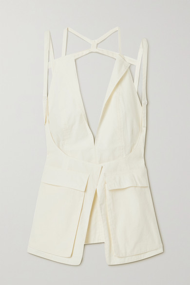 Jacquemus Ascea Layered Open-back Poplin Top In White