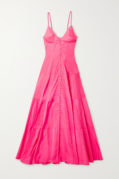 Jacquemus La Robe Manosque Tiered Chiffon Maxi Dress In Bright Pink