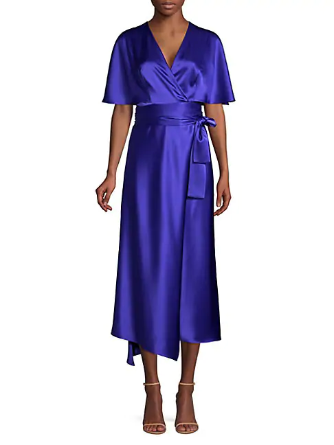 Escada Dammeriah Satin Cape Wrap Dress In Blue