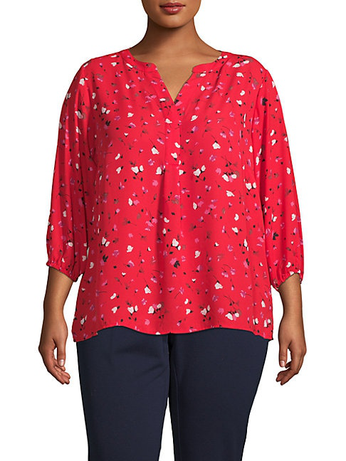 Philosophy Floral Three-quarter Tunic In Red