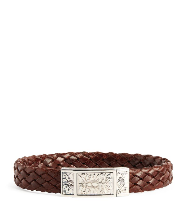 Purdey Sterling Silver And Leather Woven Bracelet