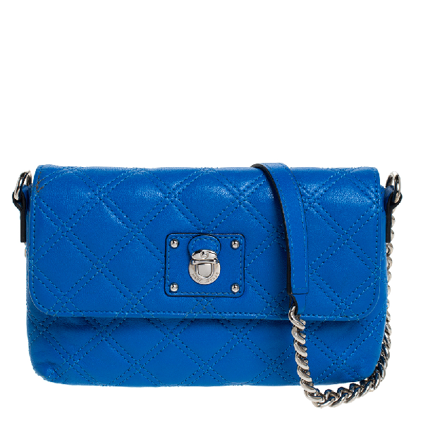 Marc Jacobs Blue Quilted Leather Flap Crossbody Bag