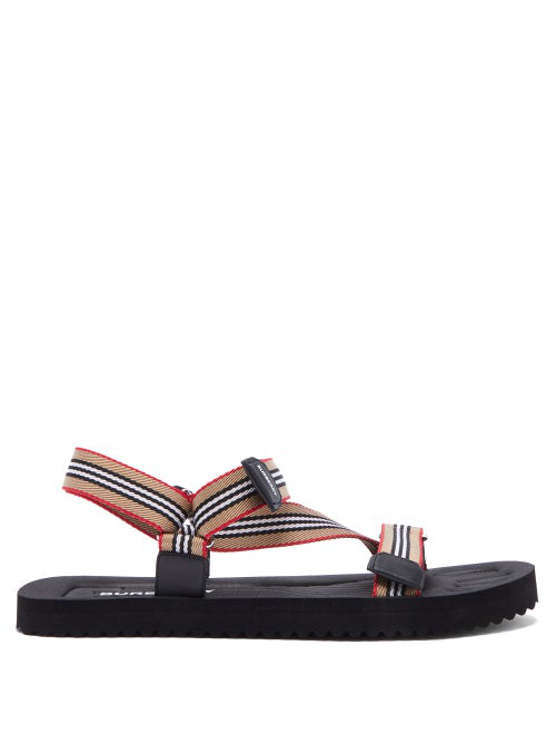 Burberry Men's Patterson Stripe Strap Sandals In Archive Bei