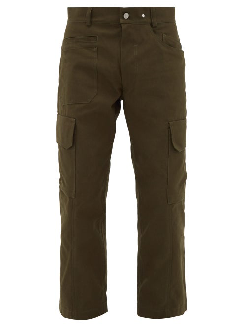 Jacquemus Le Cueillette Cropped Cargo Trousers In Green