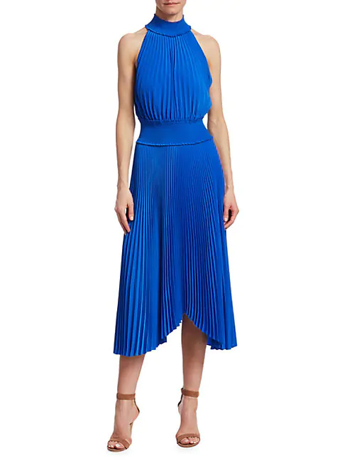 A.l.c Halter Neck Pleated Dress In Adriatic