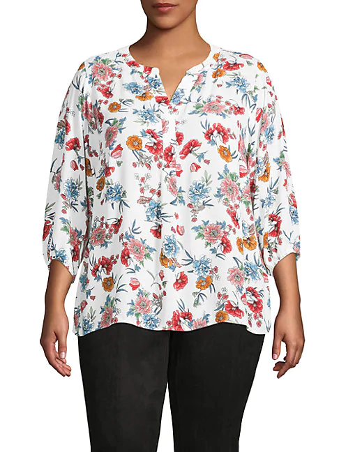Philosophy Plus Floral Tunic Top In White