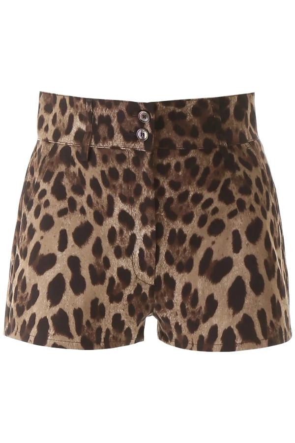 Dolce & Gabbana Animal Print Shorts In Brown,black,beige