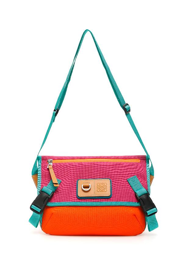 Loewe Eye Nature Messenger Bag In Orange,green,fuchsia