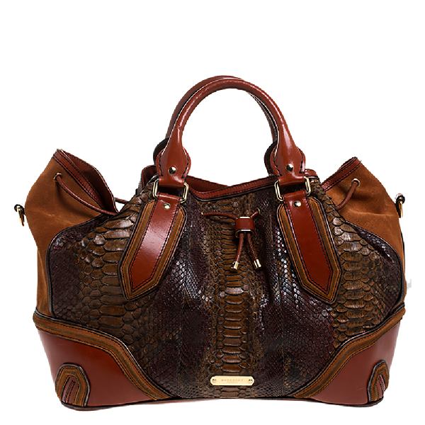 Burberry Brown Python, Leather And Suede Drawstring Shoulder Bag