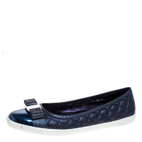 Salvatore Ferragamo Metallic Blue Quilted Leather Bow Ballet Flats Size 40.5