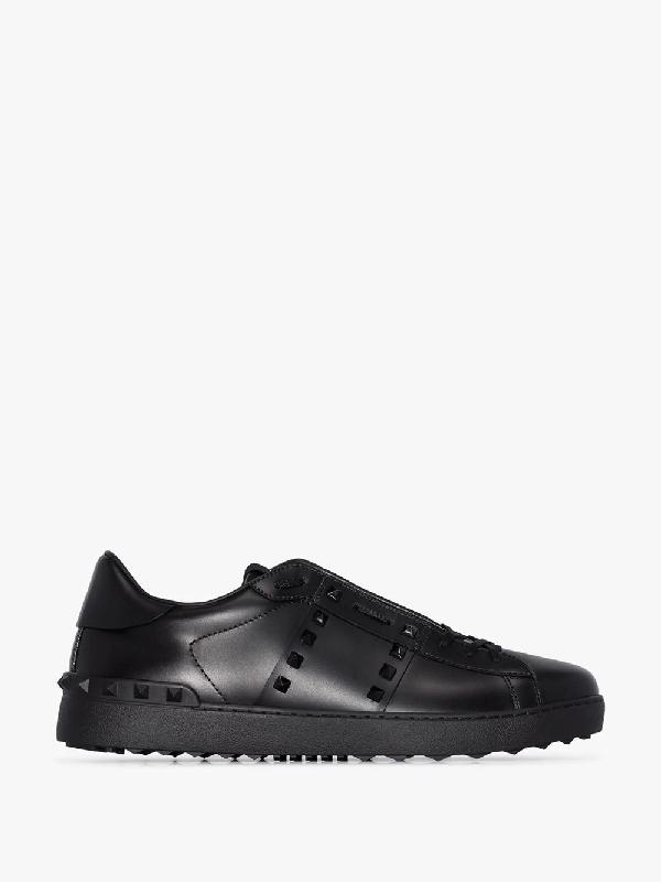 Valentino Garavani Low-top Sneakers Rockstud Untitled Calfskin Logo Black In Nero