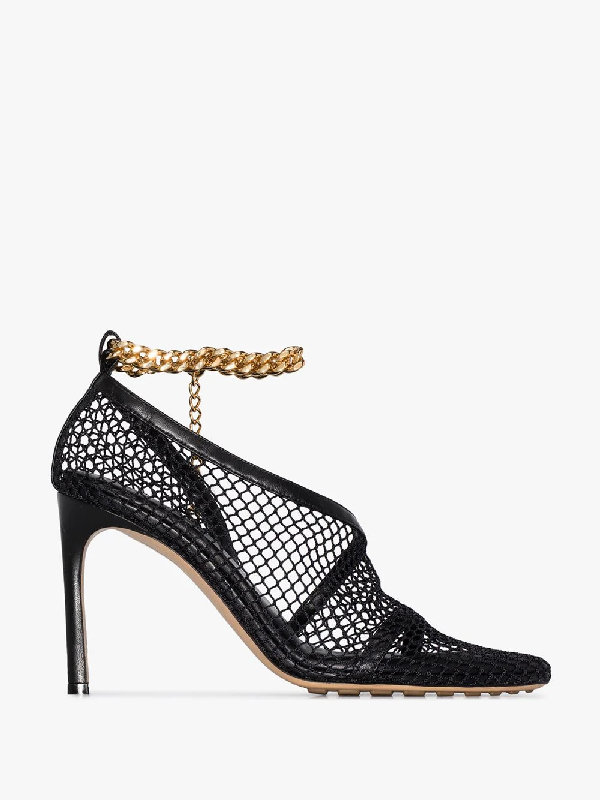 Bottega Veneta Chain-embellished Macramé And Leather Pumps In Black