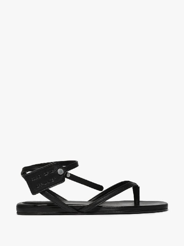 Off-white Zip Tie Flat Flats In Black Leather
