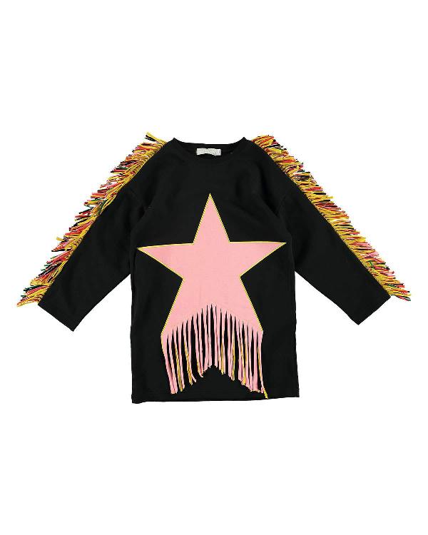 Stella Mccartney Kids' Star Patch & Fringe Sweater Dress In Black