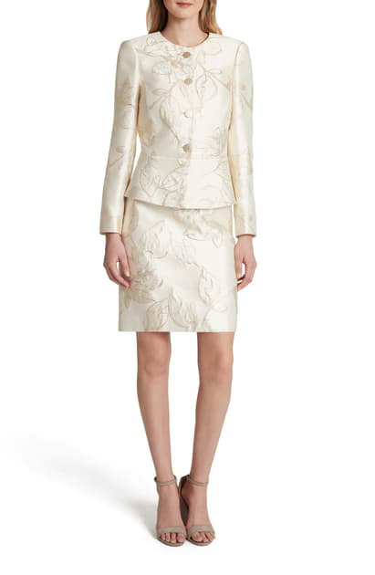 Tahari Metallic Jacquard Long Sleeve Two-piece Dress In Gold Neutral Floral Jacq