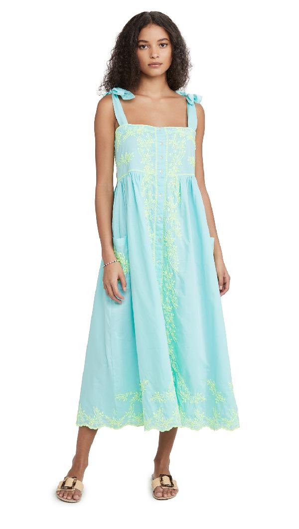 Juliet Dunn Tie Shoulder Dress In Aqua/neon Yellow