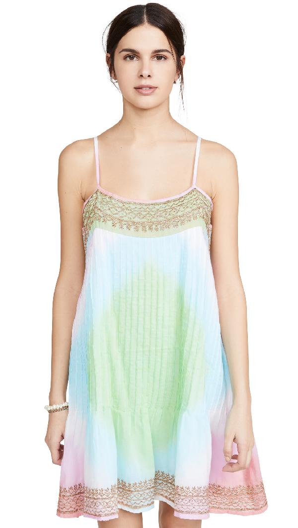 Juliet Dunn Pintuck Cami Dress In Coral/turq/green/gold