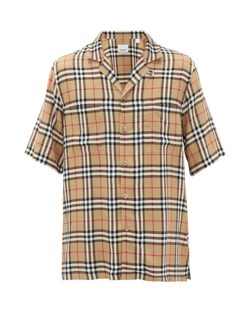 Burberry Raymouth Check Short Sleeve Button-up Shirt In Archive Bei