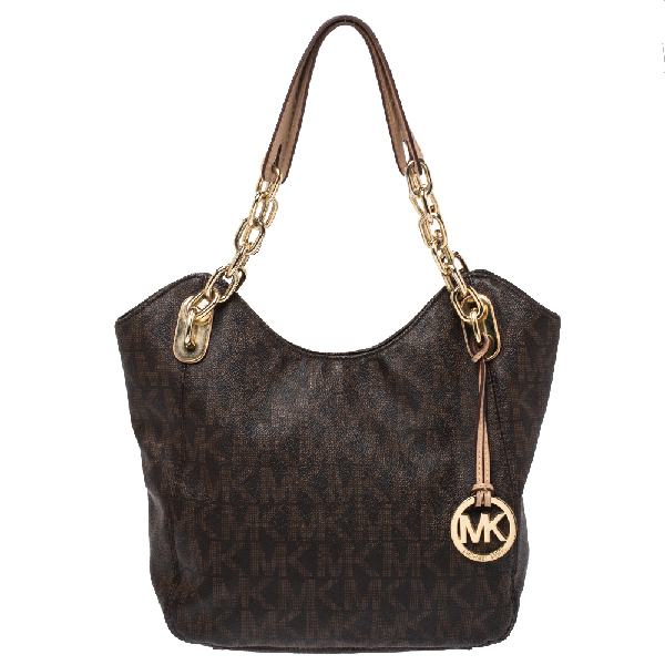 Michael Kors Michael  Brown Signature Coated Canvas Lilly Tote