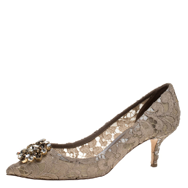 Dolce & Gabbana Beige Crystal Embellished Lace Bellucci Pointed Toe Pumps Size 40