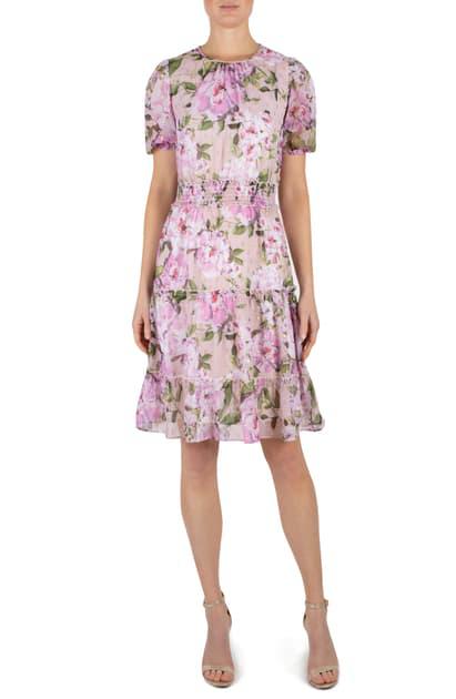 Julia Jordan Floral Print Fit & Flare Dress In Blush Multi