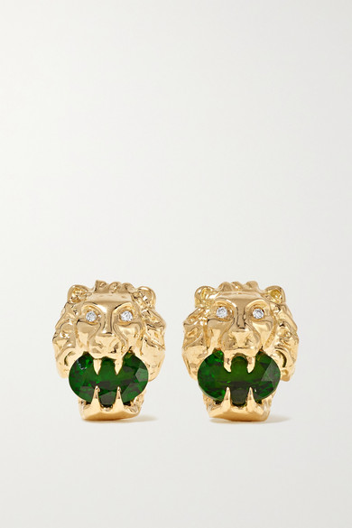 Gucci 18-karat Gold, Chrome Diopside And Diamond Earrings In Yellow Gold/ Diamond
