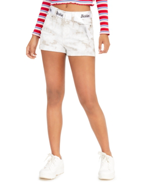 Dickies Junior's Belted Cuffed Shorts In White Khaki Tie Dye