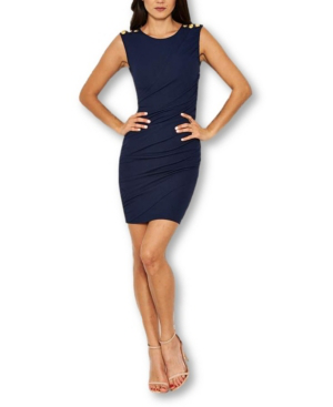 Ax Paris Ruched Military-inspired Button Dress In Navy