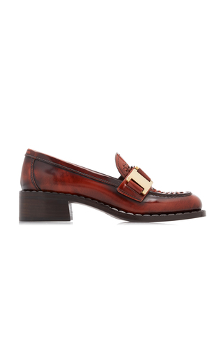 Prada Leather Chain Loafers In Red