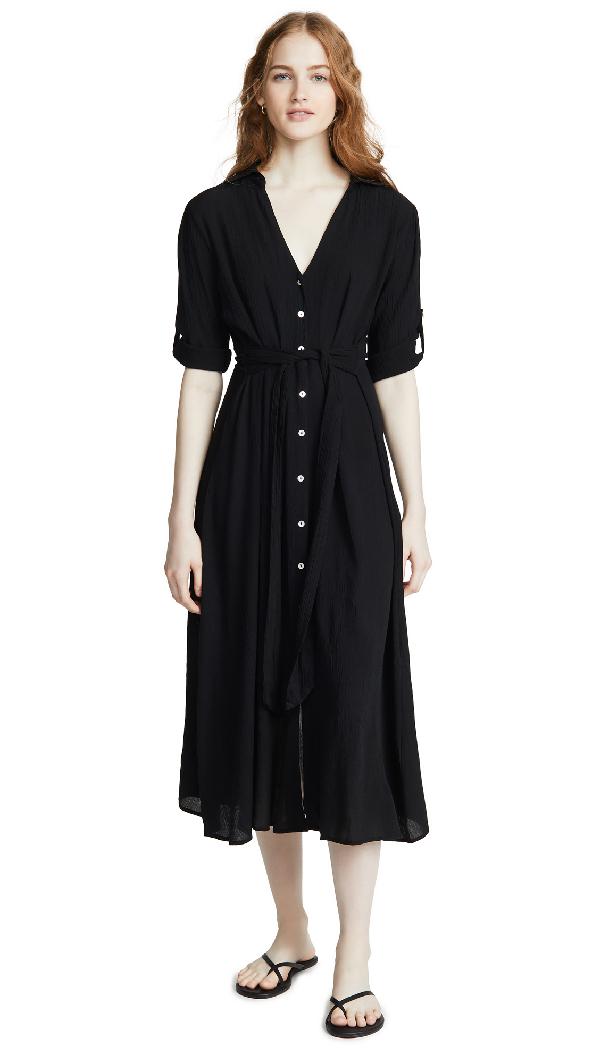 Playa Lucila Shirt Cover Up Dress In Black
