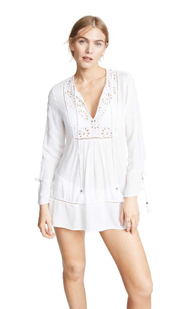 Playa Lucila Eyelet Tunic Dress In White