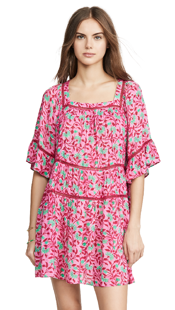 Playa Lucila Floral Dress In Pink/green