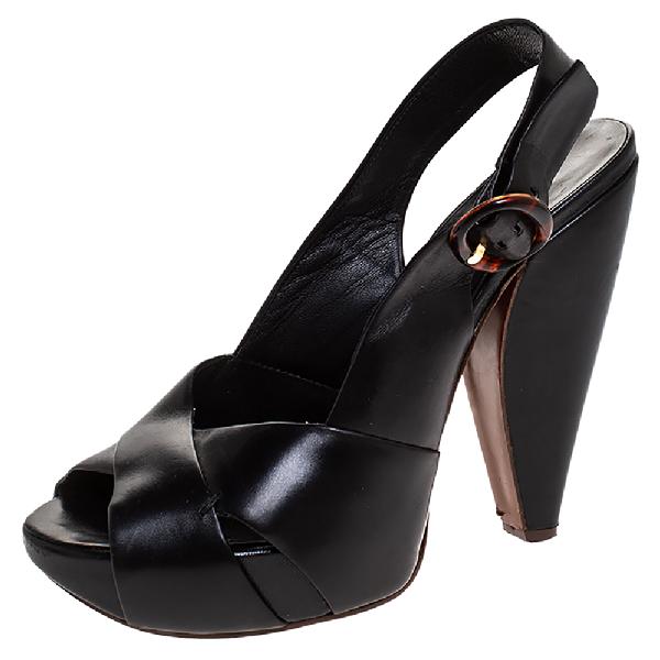 Marc Jacobs Black Leather Crisscross Slingback Platform Sandals Size 36.5