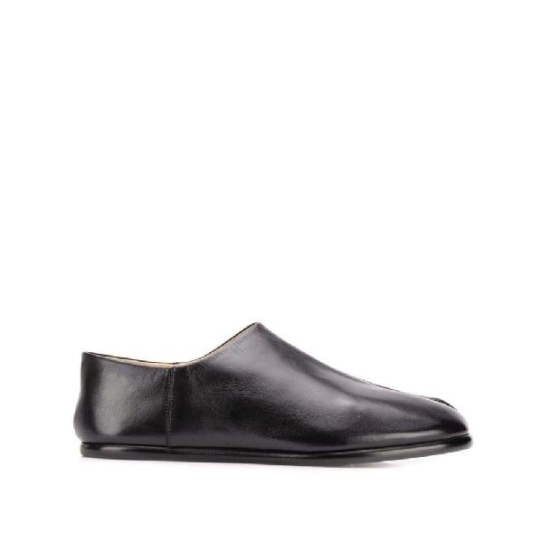 Maison Margiela Tabi Collapsible-heel Split-toe Leather Loafers In Black