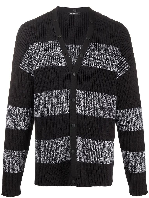 Balenciaga Ribbed Logo-print Striped Cotton Cardigan In Black