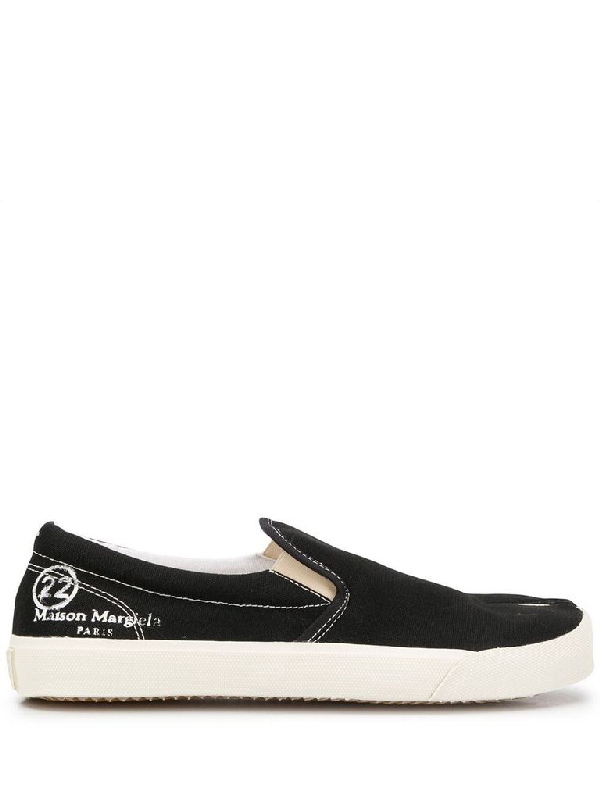 Maison Margiela Tabi Printed Fabric Slip-on Sneakers In Black